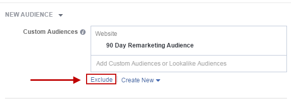 Facebook conversion tracking exclude 90-day remarketing audience