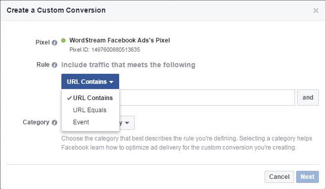 Facebook conversion tracking custom conversion URL contains