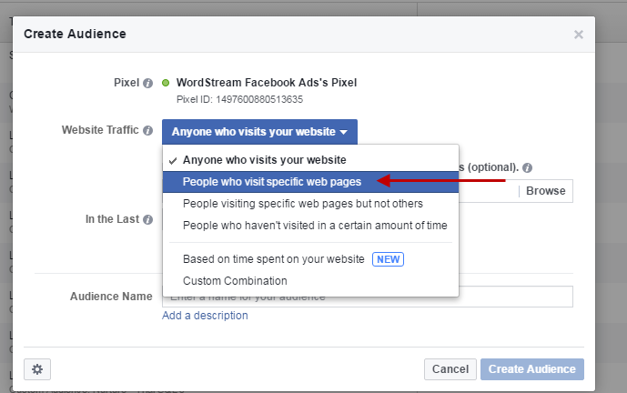 Facebook conversion tracking pages visited audience