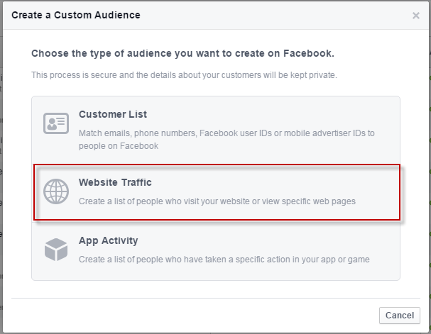 Facebook conversions create audience