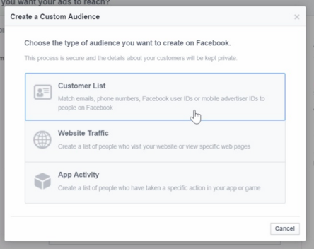 Facebook custom audiences create a Facebook custom audience
