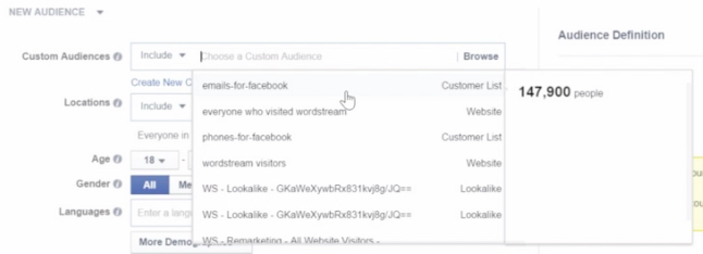 Facebook custom audiences reach size