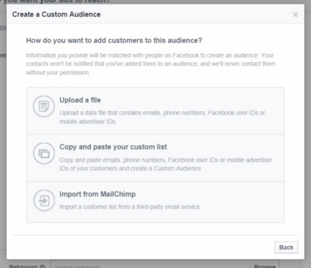 Facebook custom audiences upload file