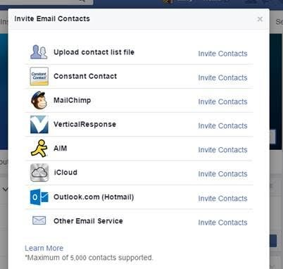 Facebook features Import Email Contacts