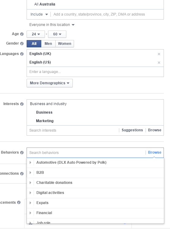 Facebook for lead gen ad targeting