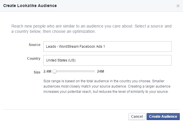 Facebook for lead gen create lookalike audience