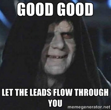 Facebook for lead gen Emperor Palpatine meme