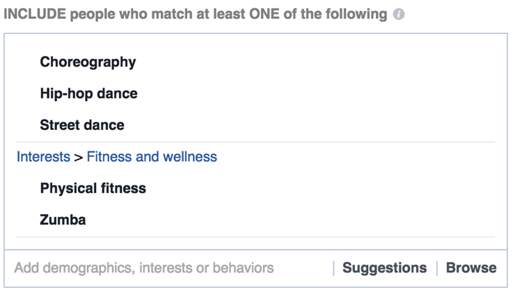 facebook interest targeting wellness activity