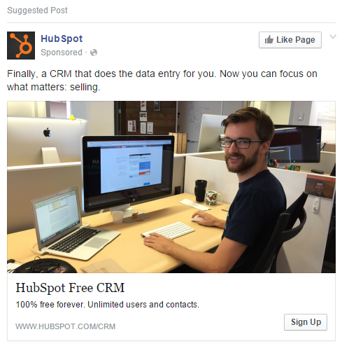 Facebook landing pages HubSpot ad