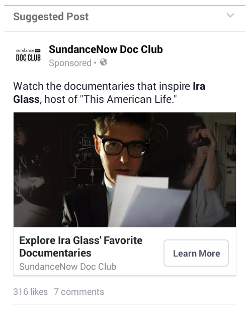 Facebook landing pages SundanceNow ad