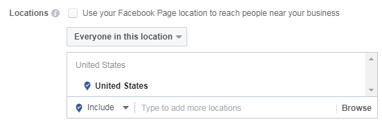 facebook location selection for driving in store purchases