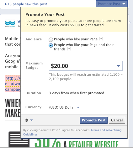 Facebook Promoted Post Ad Example