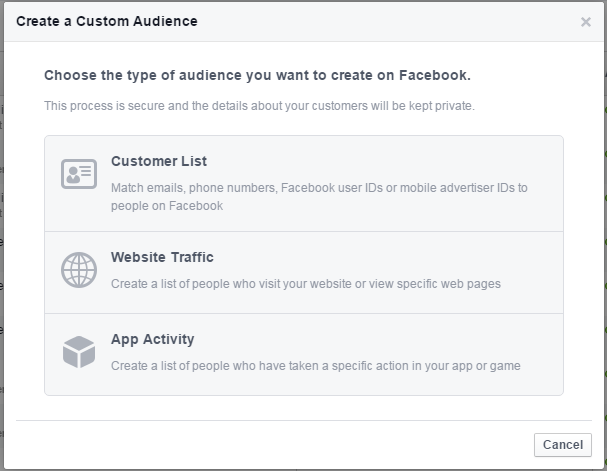 Facebook remarketing screenshot of creating a custom audience
