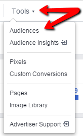 Facebook remarketing screenshot of the tools dropdown
