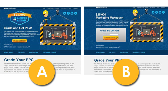 Features vs benefits A/B testing example