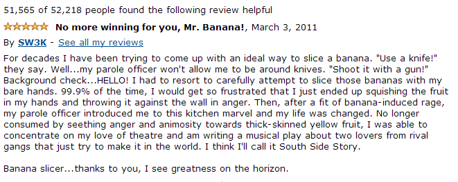 funny amazon review banana slicer