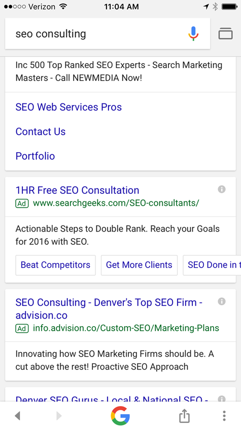 sitelinks on mobile serp