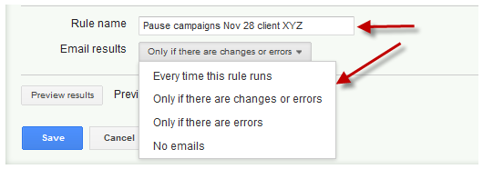 AdWords Holiday Planning Rules