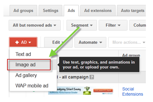 Google AdWords features display ad creator