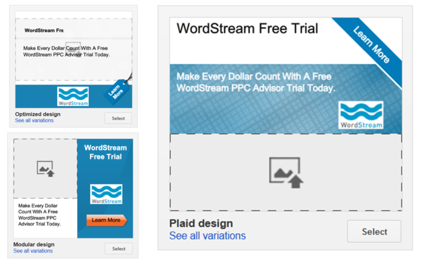 Google AdWords features WordStream display ad