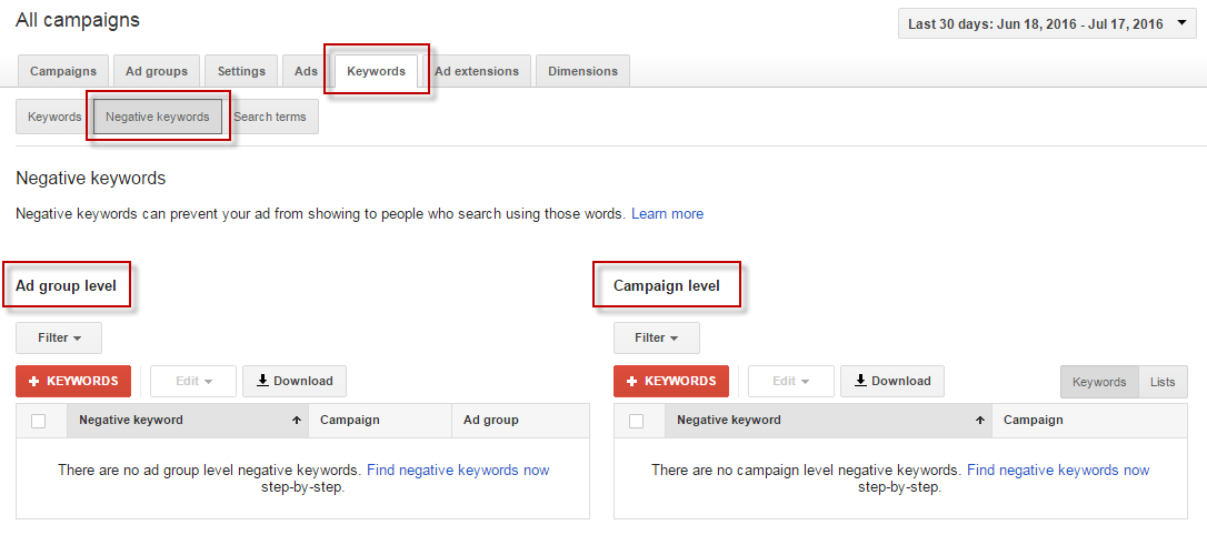 Google AdWords negative keywords interface