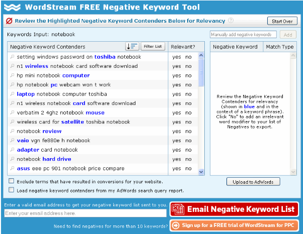 Google AdWords negative keyword list