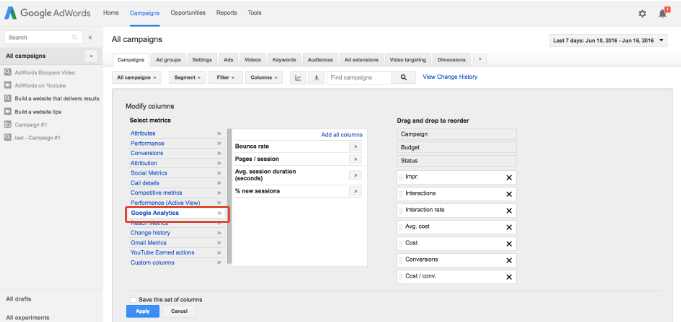 viewing analytics data in adwords