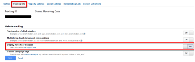 Google Analytics Remarketing Tracking