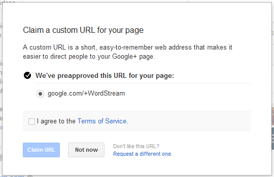 Claim your Google Custom URL