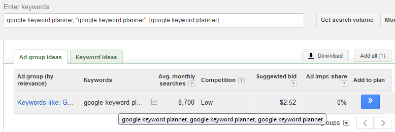 Keyword Planner Issues