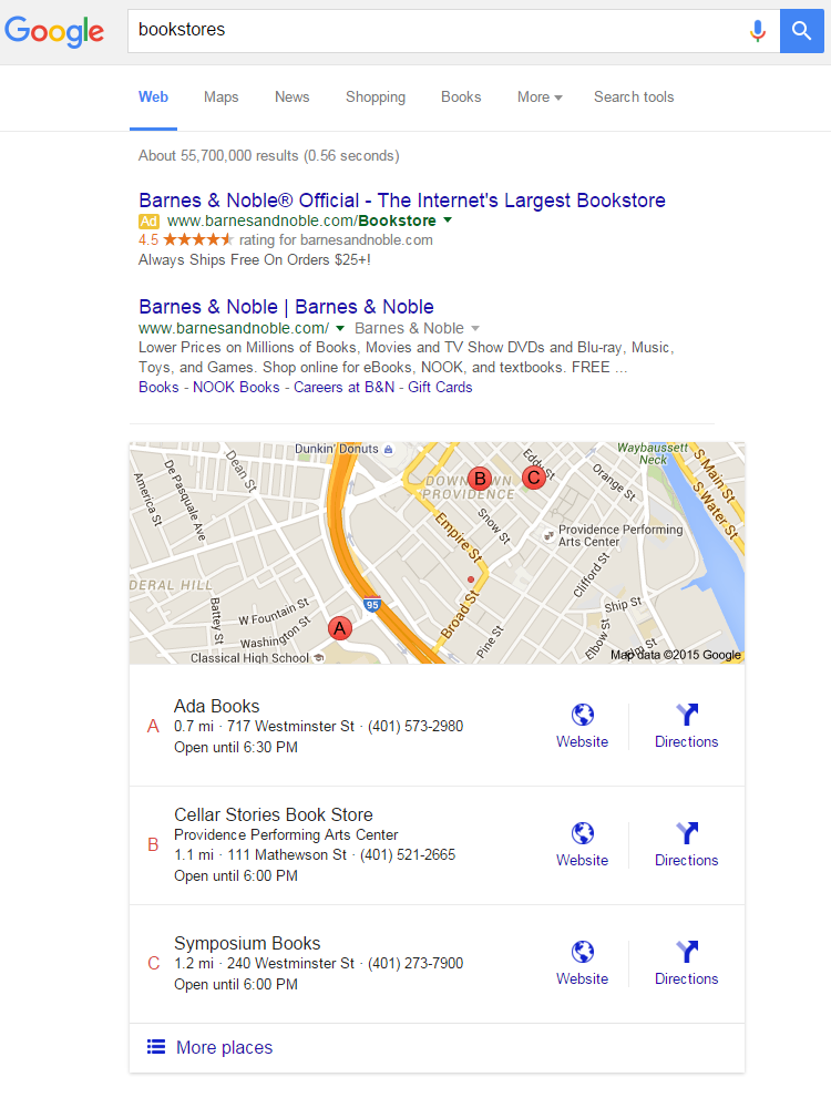 Google Maps marketing bookstores example