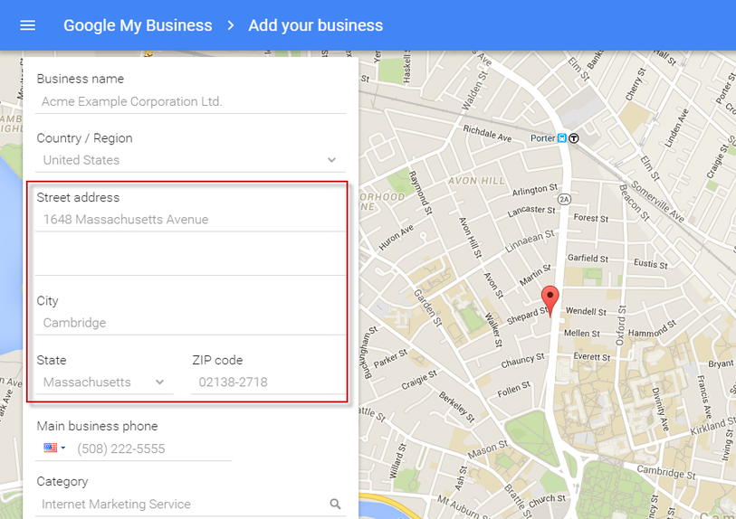 Google Maps marketing Google My Business address setup