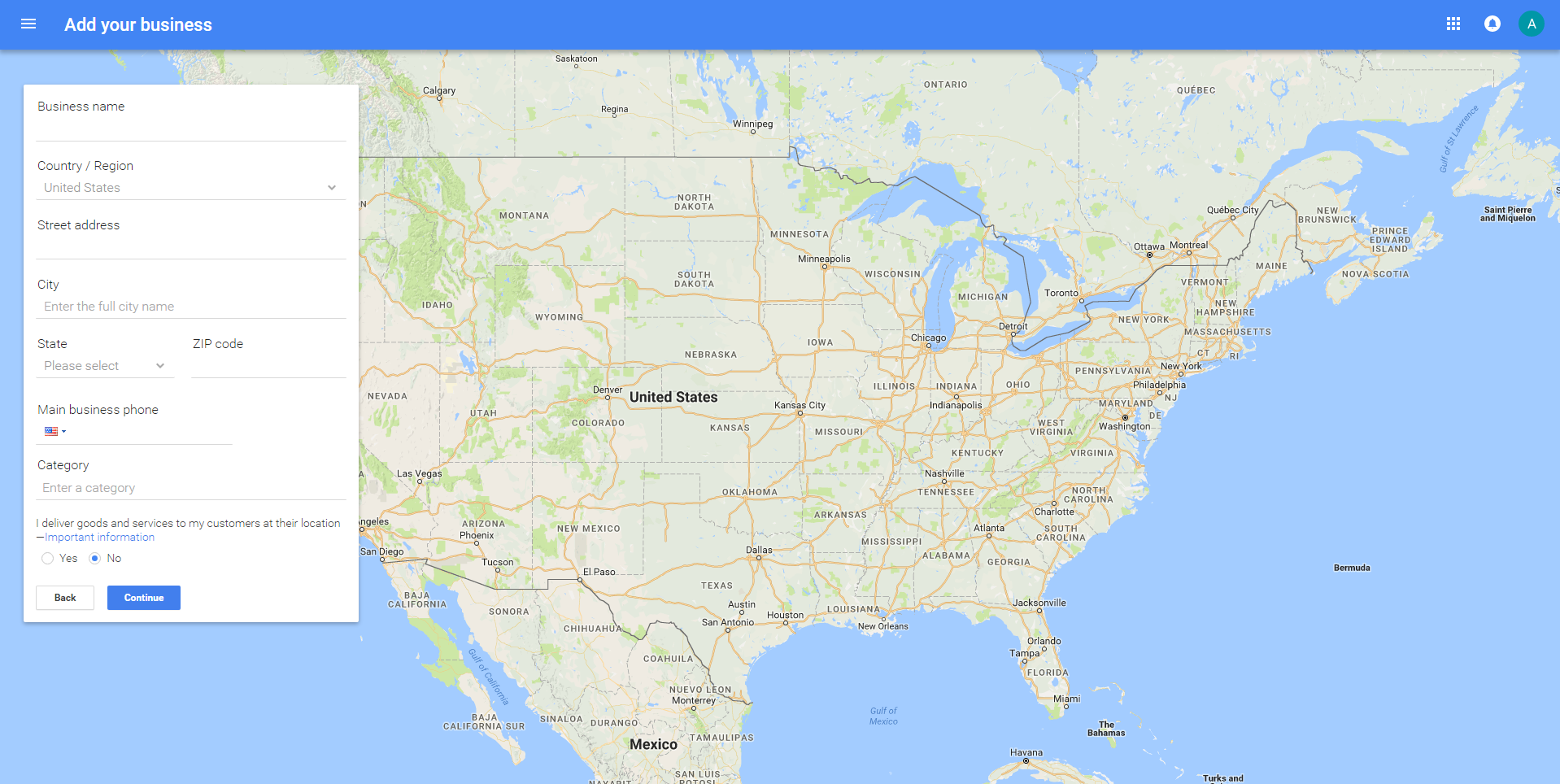 google my business account creation map