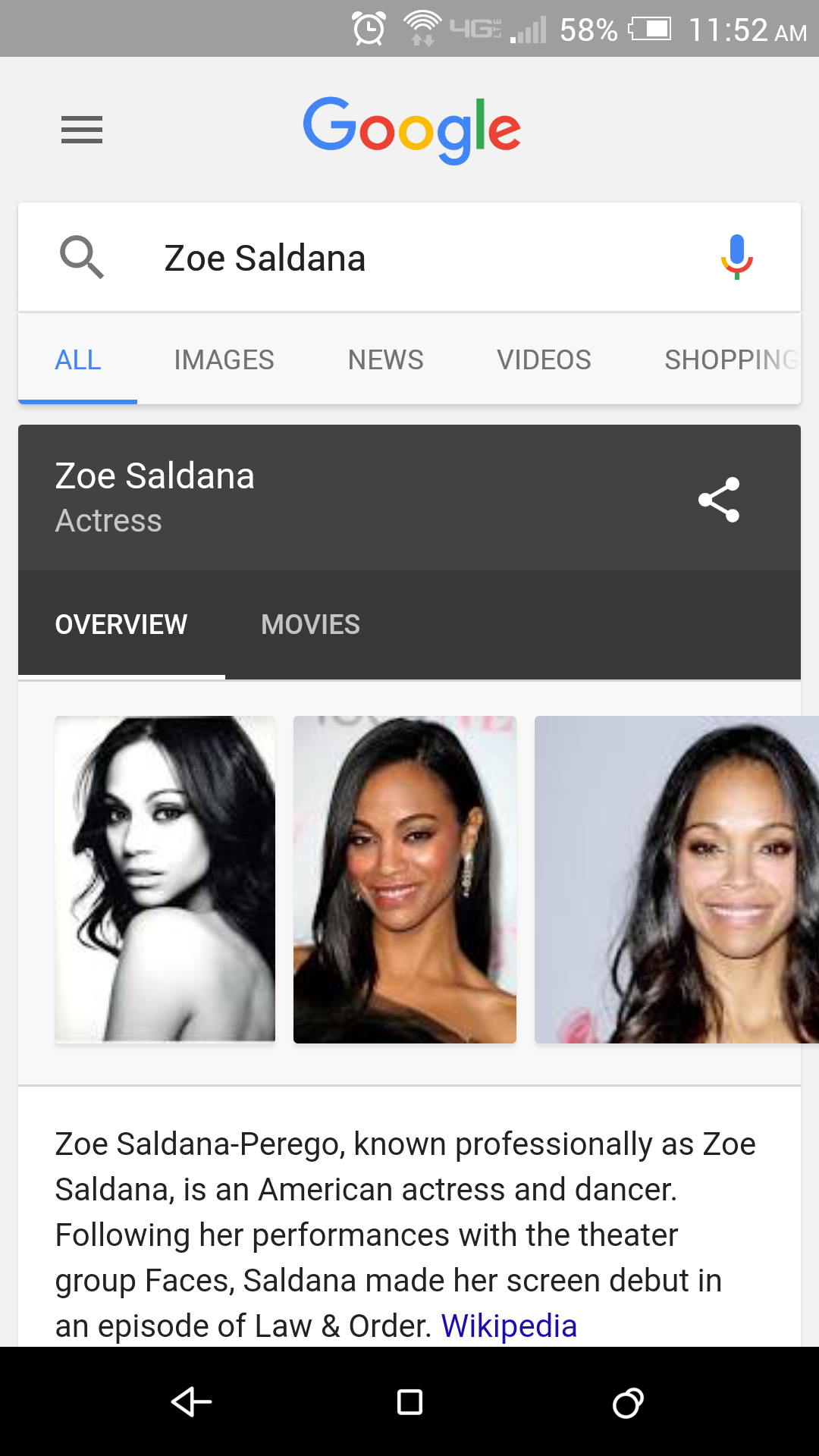 Google Voice Search Zoe Saldana