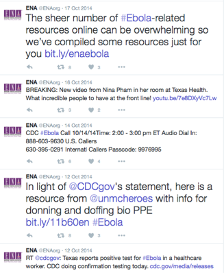 Grassroots marketing ENA CDC Ebola tweets