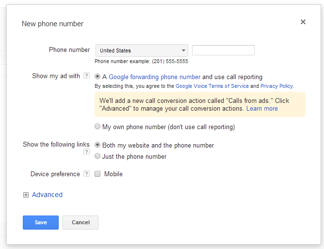 How does call forwarding work in AdWords