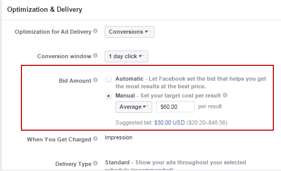 How to compete in Facebook Ads bid amount dialog box
