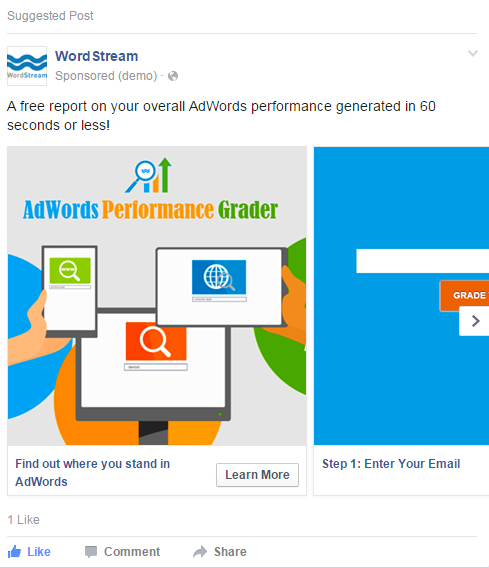 How to create Facebook ads Facebook carousel example