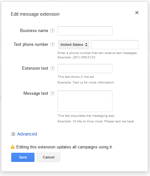 Adwords message extension setup