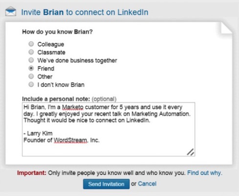 perfect linkedin connection request email
