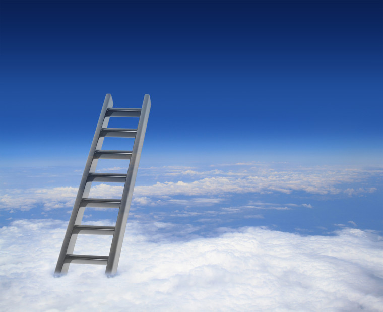 Influencing skills stairway above the clouds