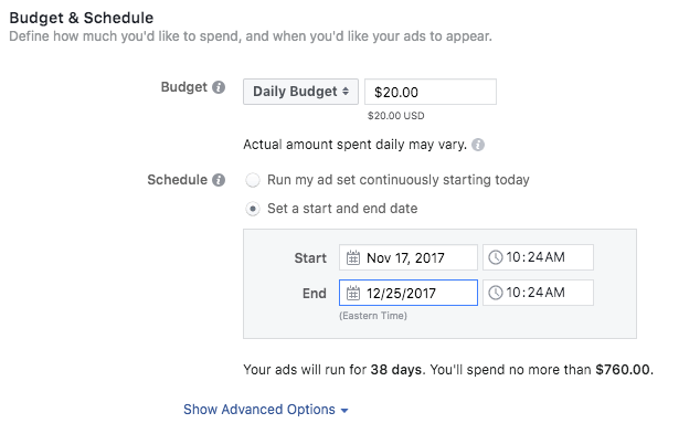 set up instagram ads budget