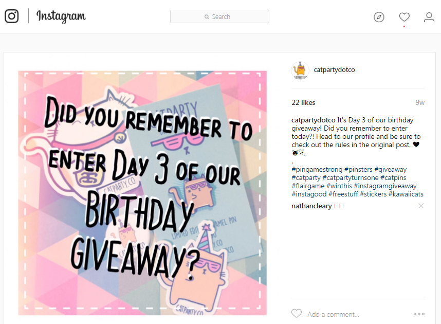 Instagram giveaways reminder post