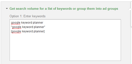 Keyword Planner Match Type Data