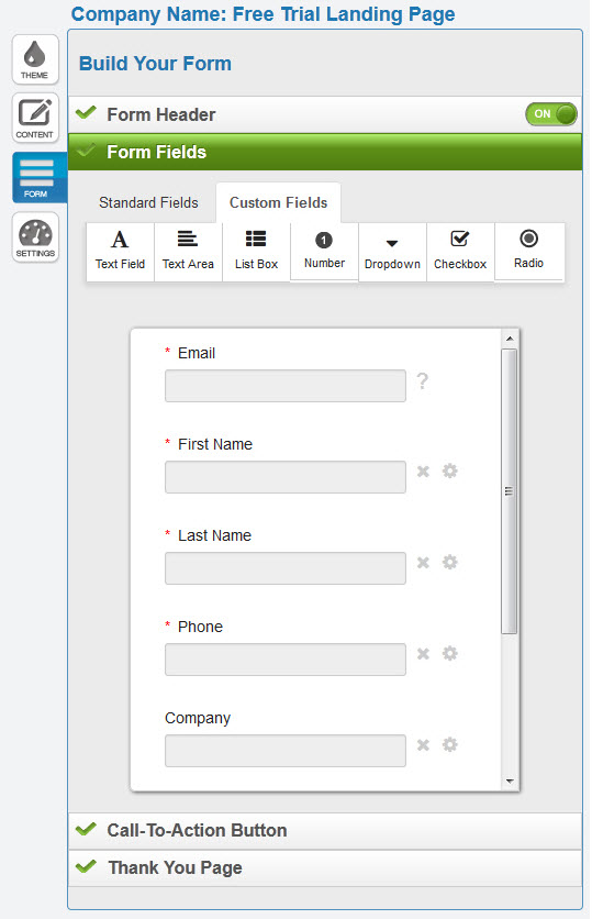 Landing Page Form Fields