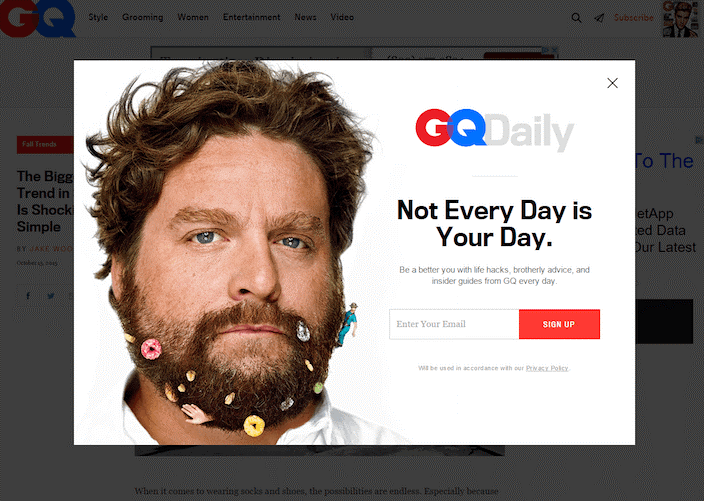 Landing page designs GQ magazine example