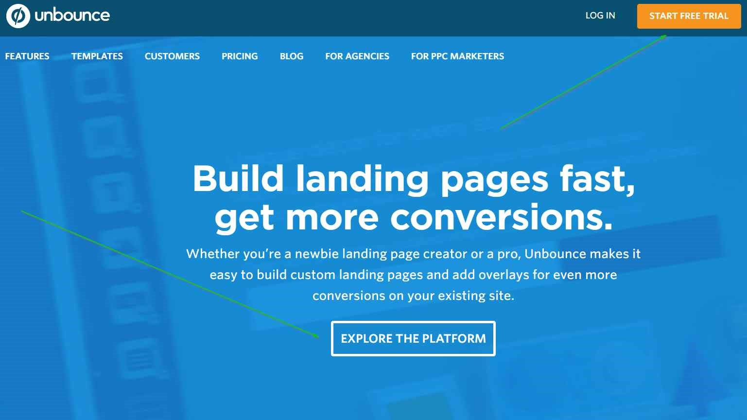 Landing page designs Unbounce example
