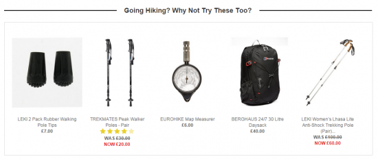 product recommendations on landing pages