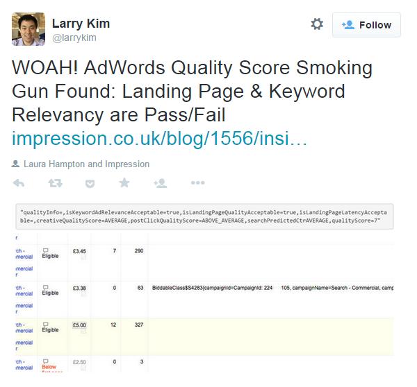 Landing page relevance Larry Kim Quality Score tweet