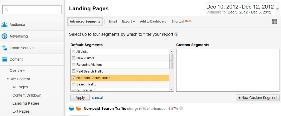 Google Analytics Landing Pages report selection